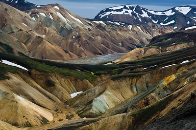 Landmannalaugar valley perspective. Up there, Nordurbarmur and Austurbarmur, in the bottom Vesturbarmur, in the middle Jökulgil river.